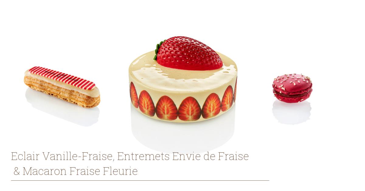 Eclair Vanille Fraise et Macaron Fraise Fleurie | Maison Caffet